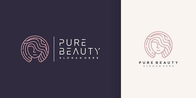 Logotipo de beleza de mulher com estilo de arte de linha criativa premium vector parte 2