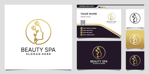 Logotipo de beleza e spa com estilo de arte de linha e design de cartão de visita premium vector