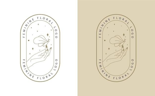 Logotipo de beleza feminina com mãos, estrelas de borboleta e mão de mulher para maquiagem, spa, salão