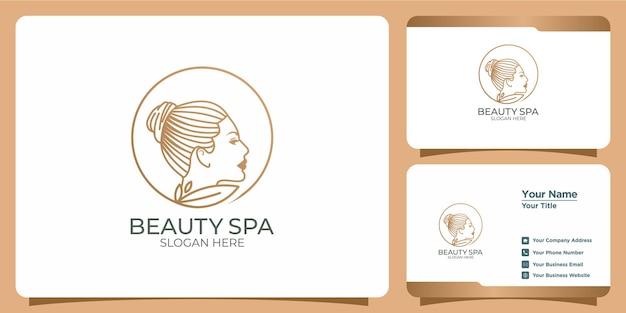 Logotipo de beleza minimalista com design de logotipo em estilo arte de linha e modelo de cartão de visita