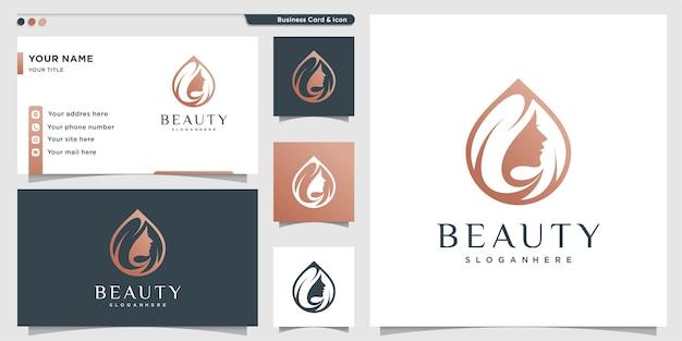 Logotipo de beleza para mulher com conceito moderno e cartão de visita