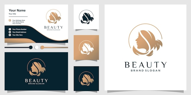 Logotipo de beleza para mulher com conceito único e modelo de cartão de visita