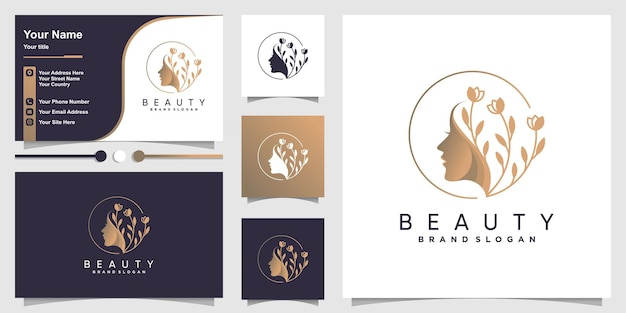 Logotipo de beleza para mulher com conceito único e modelo de design de cartão de visita