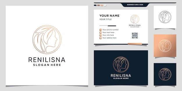 Logotipo de beleza para mulher com estilo de linha de arte e conceito de círculo e design de cartão de visita