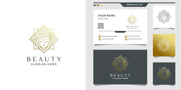 Logotipo de beleza simples e elegante com rosto de mulher em estilo de linha de arte