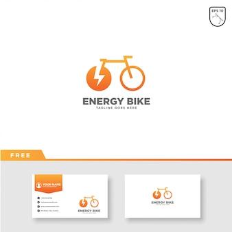 Logotipo de bicicleta de energia vetor e modelo de cartão de visita