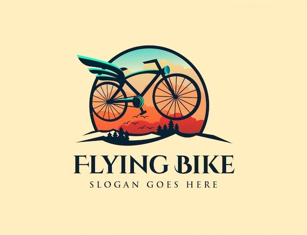 Logotipo de bicicleta voadora retrô vintage