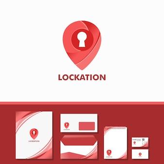 Logotipo de bloqueio com furo de bloqueio dentro incluem amostra estacionária