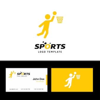Logotipo de bola de basquete e cartão de visita
