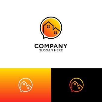 Logotipo de bolha casa e discurso