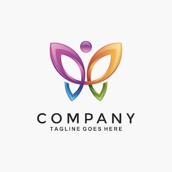 Logotipo de borboleta colorida moderna 3d abstrata
