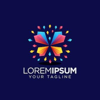 Logotipo de borboleta de cristal colorfull
