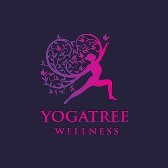 Logotipo de borboleta de ioga