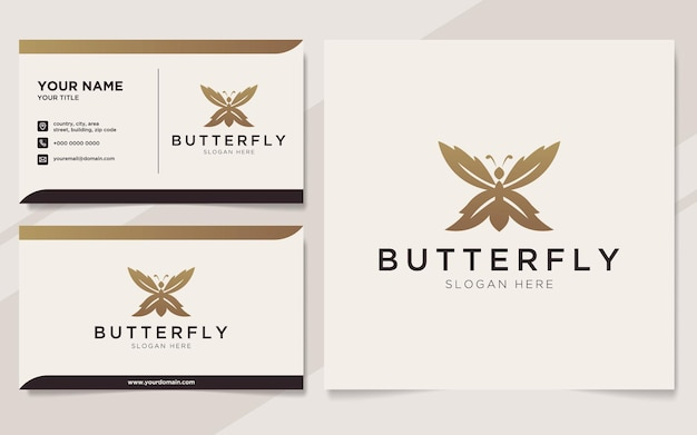 Logotipo de borboleta de luxo e modelo de cartão de visita