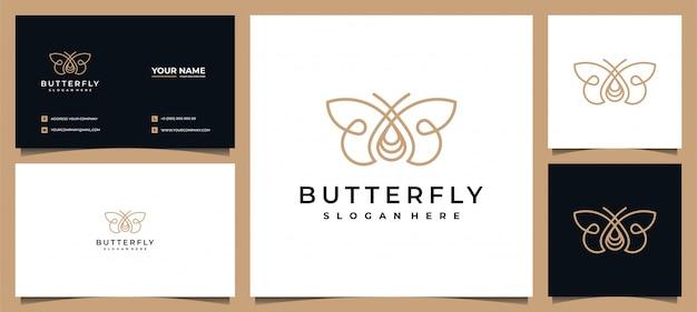Logotipo de borboleta elegante com cartão de visita