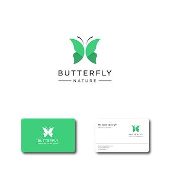 Logotipo de borboleta verde abstrato para logotipo de inspiração e modelos de cartão de visita
