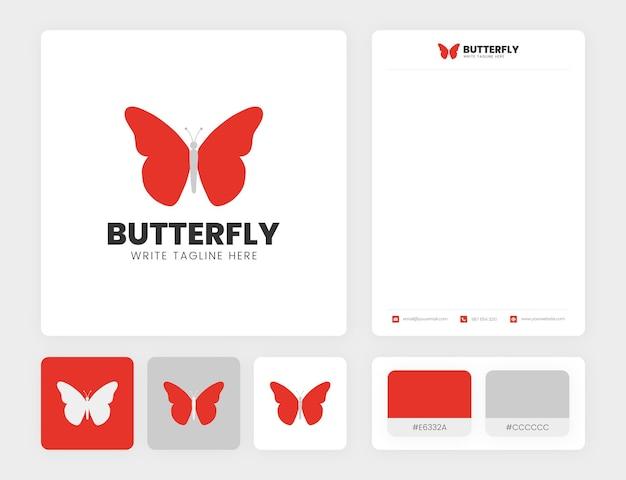 Logotipo de borboleta vermelha minimalista com modelo de identidade empresarial