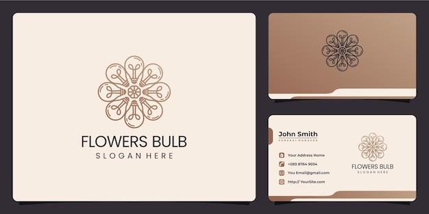 Logotipo de bulbo de flores e cartão de visita