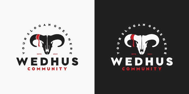 Logotipo de cabeça de cabra vintage, logotipo para comunidade, caçador, rancho e fazenda e outros