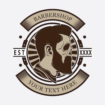 Logotipo de cabeça de caveira de loja de barbeiro
