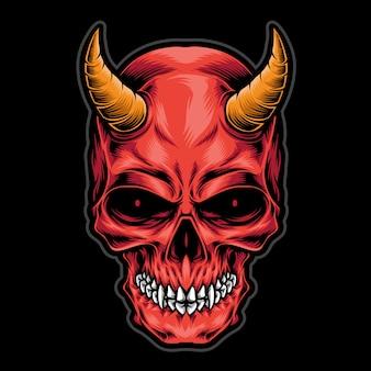 Logotipo de cabeça de caveira diabo
