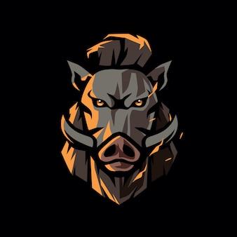 Logotipo de cabeça de javali hipster