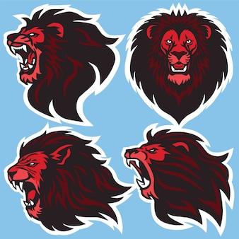 Logotipo de cabeça de leão, coleção de conjunto