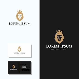 Logotipo de cabeça de leão de luxo com design de logotipo de cartão de visita