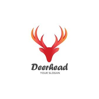 Logotipo de cabeça de veado vermelho