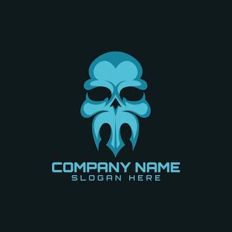 Logotipo de cabeça tridente de crânio
