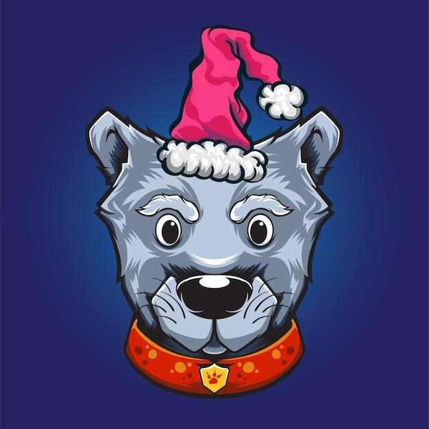 Logotipo de cachorro cinza de natal