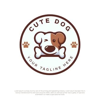 Logotipo de cachorro fofo com estilo kawaii