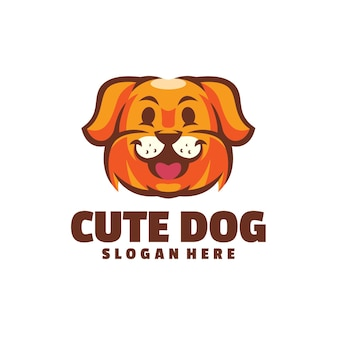 Logotipo de cachorro fofo isolado no branco