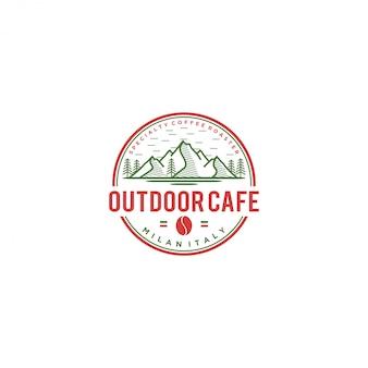 Logotipo de café ao ar livre, café itália