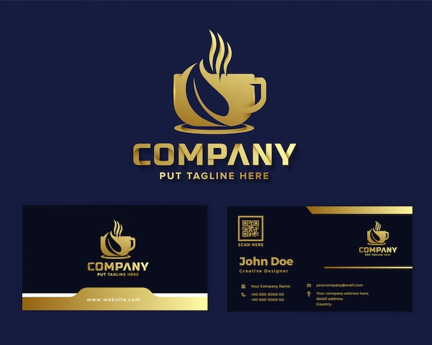 Logotipo de café de luxo premium para empresa de negócios
