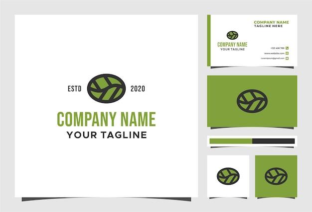 Logotipo de café ecológico natural e design de vetor de cartão de visita
