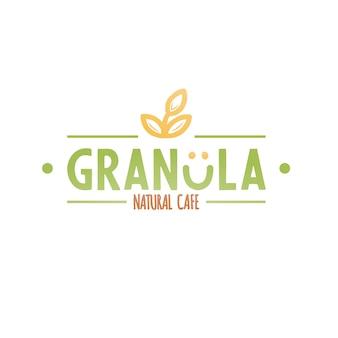 Logotipo de café natural de granola.