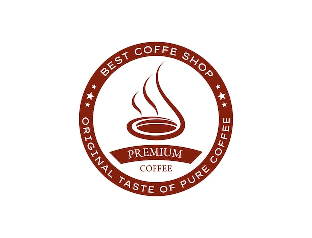 Logotipo de café quente deliciosamente perfumado para café retrô