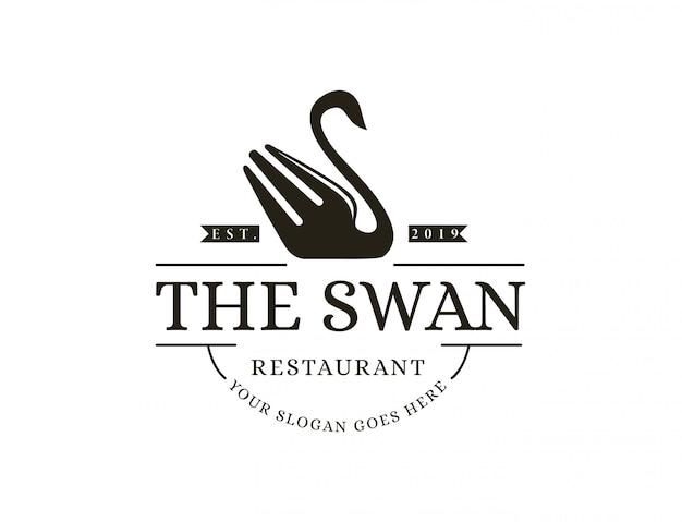 Logotipo de café vintage hipster retro cisne garfo restaurante