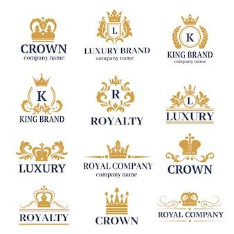 Logotipo de caligrafia boutique de luxo definido para identidade de marca do hotel