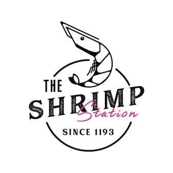 Logotipo de camarão retrô