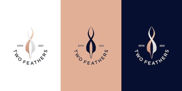 Logotipo de caneta feather, vetor premium de logotipo de assinatura para empresa