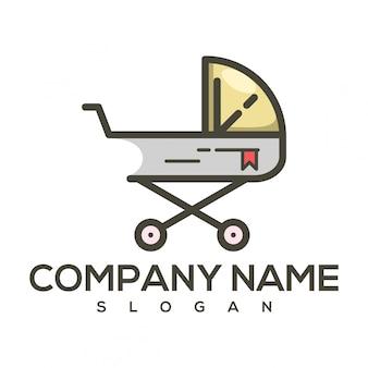 Logotipo de carrinho de bebê de livro