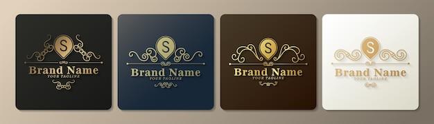 Logotipo de carta luxuoso com estilo clássico de ornamento de arte de linha