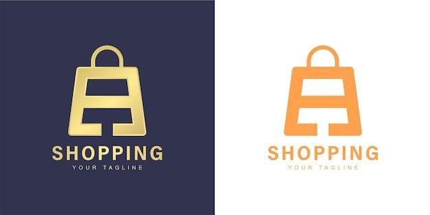 Logotipo de carta minimalista a com conceito de compras e loja online