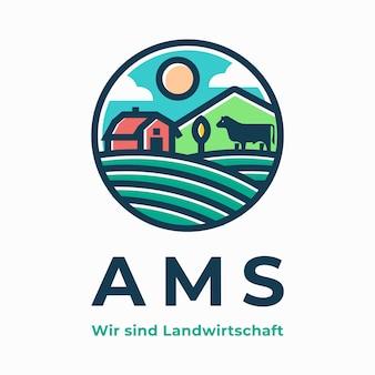 Logotipo de casa de fazenda moderna