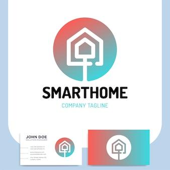Logotipo de casa inteligente ou tecnologia em estilo de linha