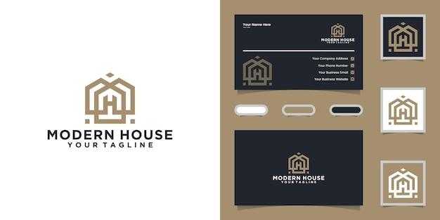 Logotipo de casa simples e moderno com um estilo de linha e um cartão de visita