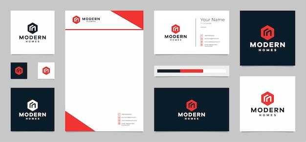 Logotipo de casas modernas com cartão de visita e papel timbrado