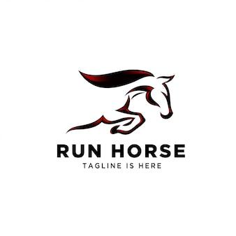 Logotipo de cavalo de salto de velocidade rápida
